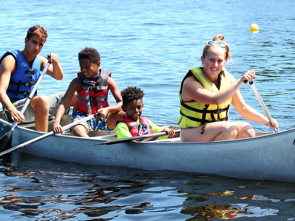 Canoeing at sleep away camp in New York